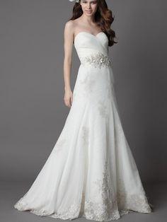 White Strapless Chapel Train Wedding Dress with Full A-line Skirt