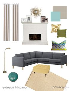 Living Room Design Board: charcoal grey couch, silver lamp, moroccan pouf, grey curtains, pop pillows. love the yellow ottoman too!