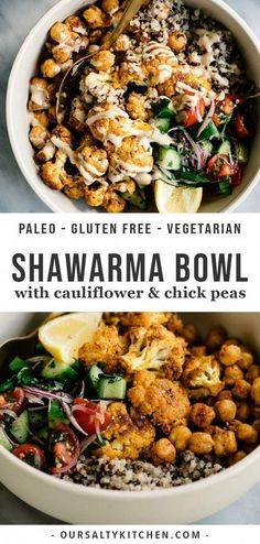 Buddha bowls are so much fun - healthy, colorful bowls of yummy! I love them for lunch, dinner, and meal prep, and my newest favorite is this vegan cauliflower shawarma bowl. recipes vegetarian dinner Cauliflower Shawarma Buddha Bowl with Crispy Chickpeas Baby Food Recipes, Whole Food Recipes, Salad Recipes, Cooking Recipes, Rib Recipes, Dessert Recipes, Pork Chop Recipes, Food Network Recipes, Recipies