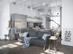 Scandinavian Apartment Jazzed Up By Industrial Design Elements - http://www.interiordesign2014.com/interior-design-ideas/scandinavian-apartment-jazzed-up-by-industrial-design-elements/
