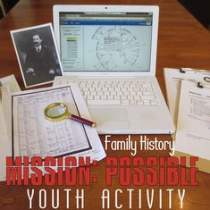 Do you need a fun activity to help the youth in your ward get interested in family history? How about a Family Home Evening or Sunday activity for the whole family? Try MISSION POSSIBLE and see tha… (group activities for teens family reunions) Mutual Activities, History Activities, Summer Activities For Kids, Family Activities, Young Women Activities, Church Activities, Family Home Evening Lessons, Mission Possible, Lds Youth