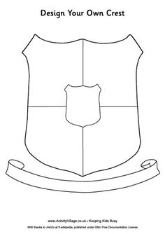 """I will have the students first draw up a pattern using this template... They can add anything they want to it but they have to include 5 different """"sections"""" within the Crest and their Family name or Surname in the banner at the bottom"""