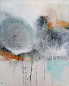 original abstract acrylic painting canvas white teal by kydo