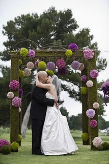 Arch decor with paper poms instead of flower poms. $ave $$$!