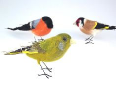 Greenfinch  Mixed media textile bird by PhillipaEngland on Etsy, $75.00