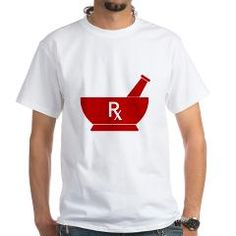 Red Mortar and Pestle Rx White T-Shirt