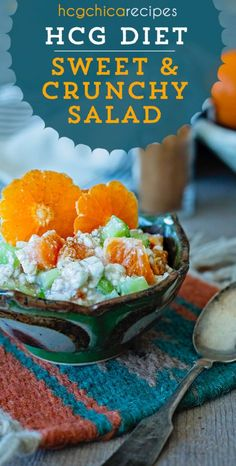 Quick Diet Meal: Sweet & Crunchy Salad with Cottage Cheese, Celery & Clementines for Phase 2 VLCD part of the hCG Diet. With only 129 calories, fat-free and sweetened with stevia Phase 2 Hcg Recipes, Hcg Diet Recipes, Cooking Recipes, Healthy Recipes, Hcg Meals, Free Recipes, Salad Recipes, Healthy Food, Healthy Eating