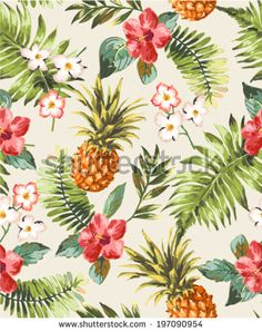 vintage seamless tropical flowers with pineapple vector pattern background - stock vector