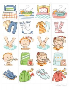 chore chart illustrations - I used these to make morning and evening routine cards, with magnetic flaps to close as each task is done. Brilliant!                                                                                                                                                      More