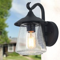 Sanddle 1-Light Traditional Porch Patio Outdoor Wall Sconces, Black