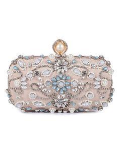 Women Noble Crystal Beaded Evening Bag Wedding Clutch Purse - Apricot -  CV185TKDZQT f7d9894b2a89