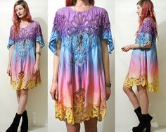 70s Vintage BELL SLEEVE Dress Sheer Floaty Chiffon by cruxandcrow