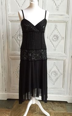 New Look 1920s Black Beaded Evening/Prom/Cocktail/Party Dress - Size 12