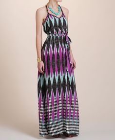 Charlie Jade Silk String Maxi Dress- color and print are amazing!
