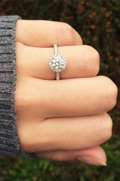 14K White Gold Pave Halo And Shank Diamond Engagement Ring / http://www.himisspuff.com/engagement-rings-wedding-rings/38/