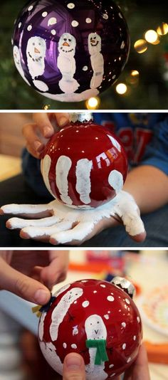 DIY Christmas Crafts for Kids - Easy Craft Projects for Christmas DIY and Crafts, love these handprint ornaments kids can make! Diy Craft Projects, Diy And Crafts Sewing, Easy Diy Crafts, Craft Ideas, Simple Crafts, Decor Ideas, Christmas Crafts For Adults, Crafts For Kids To Make, Holiday Crafts