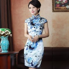 Attractive Flowers Print Silk Cheongsam Qipao Dress - Qipao - Cheongsam - Women