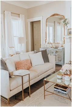 Curtain Break Down: How to Get Your Window Treatments Right Source by theeverygirl Decor living room Glam Living Room, Living Room Interior, Living Room Decor Gold, Brown And Gold Living Room, White Gold Room, White Couch Living Room, Decor Room, Wall Decor, Piece A Vivre