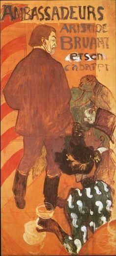 Les Ambassadeurs Aristide Bruant and His Cabaret - Henri de Toulouse-Lautrec