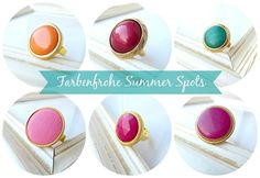 Colorful summer spots: new vintage button rings in my shop www.annundfuermich.de