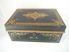 Antique 19th C Tin Tole Document Cash Box Colorful Stenciled Design | eBay