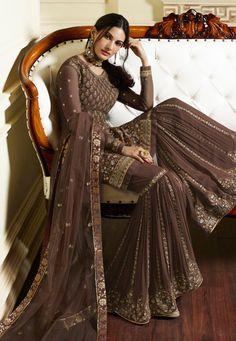 Brown Overall Traditional Embroidered Gharara Suit - Hatkay Sharara Suit, Churidar, Anarkali, Lehenga, Kurti, Pakistani Outfits, Indian Outfits, Gharara Designs, Stylish Outfits