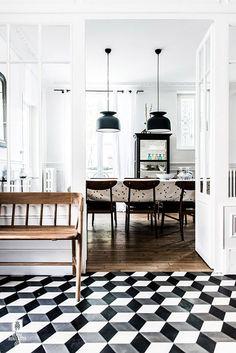 geometric hallway floor tile