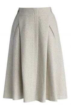 Eyelet Faux Suede Midi Skirt in Off-white - Retro, Indie and Unique Fashion