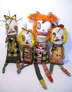 New  monster dolls for Screaming Sky Gallery | Art Doll by Junker Jane