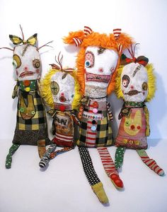 New monster dolls for Screaming Sky Gallery | Art Doll by Junker Jane