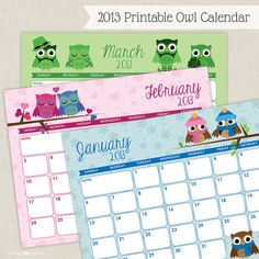 2013 Printable Owl Calendar  EDITABLE TEXT by Tickled Peach Studio