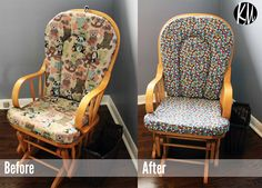 Katelyn Made: Before & After: DIY Glider Reupholstery Tutorial Recover Glider Rocker, Glider Chair, Furniture Makeover, Diy Furniture, New Baby Crafts, Before And After Diy, Easy Diy Crafts, Gliders, Rocking Chair