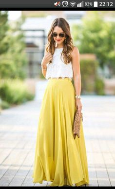 2017 New Women Chiffon High Waist Maxi Dress Skater Flared Pleated Long Skirt Yellow Maxi Skirts, Maxi Skirt Outfits, Maxi Dresses, Yellow Dress, Maxi Skirt Outfit Summer, Long Skirt Outfits For Summer, Maxi Skirt Crop Top, Tulle Skirts, Blue Maxi