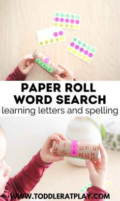 Don't throw away those paper rolls! Create a fun and simple word search for kids to learn letters and spelling! #learningtospell #learningletters #recycledactivities #recycleandplay #wordsearch #preschoolactivity Letter Activities, Toddler Learning Activities, Parenting Toddlers, Toddler Preschool, Toddler Crafts, Preschool Activities, Kids Learning, Crafts For Kids, Toddler Art Projects