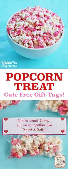 Easy Valentines Day Popcorn treat! Comes with free printable gift tags perfect school class valentines. White chocolate popcorn recipe is always a hit.