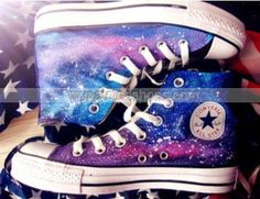 #galaxy Custom hand painted shoes