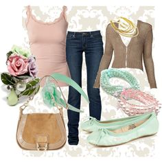 Dusty rose and mint green outfit. Cute!
