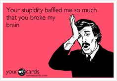 Your stupidity baffled me so much that you broke my brain.