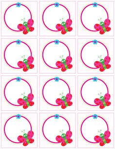 """Cute animal labels"": ""Butterflies on the circle"" labels Butterfly Party, Butterfly Crafts, Printable Butterfly, Borders For Paper, Borders And Frames, Printable Labels, Free Printables, Birthday Charts, School Frame"