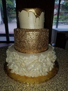 Calumet Bakery Gold Drip/Confetti/RuffleFondant Wedding Cake