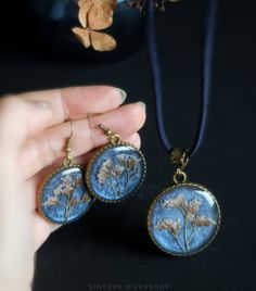 Dark blue flower jewelry earrings blue necklace real herbarium jewelry pendant botanical jewelry set jewelry gift for girl statice round by sincereworkshop on Etsy