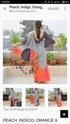 Designer saree - Only the back looks cool, the front can be improvised. Simple Sarees, Trendy Sarees, Fancy Sarees, Indian Dresses, Indian Outfits, Saree Jackets, Modern Saree, Saree Look, Elegant Saree