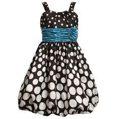 Bonnie Jean TWEEN GIRLS 7-16 BLACK WHITE GRADIENT DOT PRINT SHANTUNG BUBBLE Special Occasion Wedding Flower Girl Party Dress  Price:	$47.60