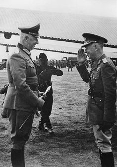 Antonescu Ion Officer and politician Romania Antonescu welcomes the Chief of Staff of the Army Group South Erich von Manstein who arrived in. German Soldiers Ww2, German Army, History Of Germany, The Third Reich, Chief Of Staff, Japan, World War Two, Wwii, Military