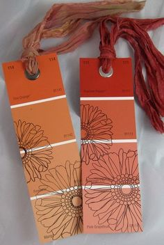 buying someone a book? don't forget to pick up some paint samples of their fav colors & include a bookmark. Genius!