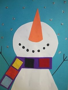 Geometric Snowman - using cone (2D form), circle, rectangle, square, and trapezoid