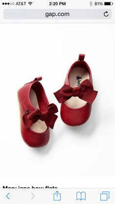 Baby Gap Mary Jane Red Bow Shoes