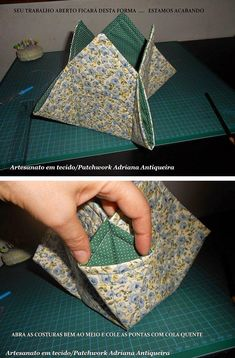Best 12 Look how beautiful that door objects I found in the face … Very beautiful and sup … – Anime Thing – SkillOfKing. Origami Bag, Fabric Origami, Fabric Crafts, Sewing Crafts, Sewing Projects For Kids, Sewing For Kids, Fabric Bowls, Quilted Gifts, Sewing Baskets