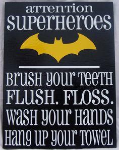 Attention+Superheroes+Batman+bathroom+rules+by+WordArtTreasures,+$15.00