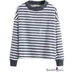Round Neck Long Sleeve Stripes Pullover Tee (€15) ❤ liked on Polyvore featuring tops, t-shirts, long sleeve pullover, striped long sleeve t shirt, pullover tops, striped long sleeve tee and round neck t shirt
